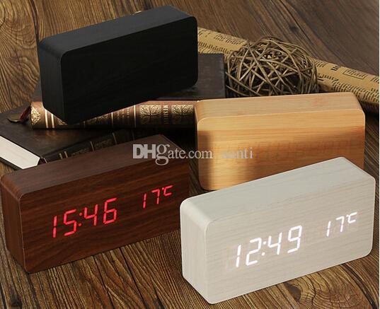 الحديث الاستشعار الخشب ساعة مزدوجة الصمام عرض الخيزران على مدار الساعة المنبه الرقمي led ساعة تظهر درجة الحرارة ضبط الصوت