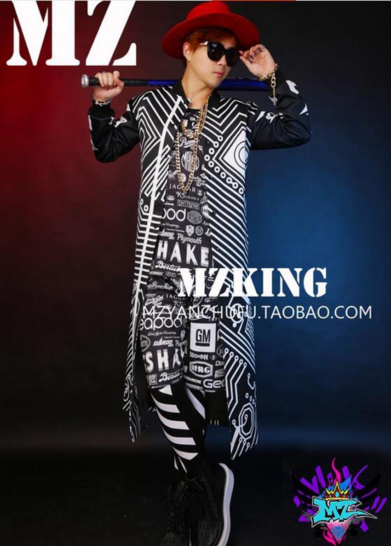 남성 가수는 유럽과 미국의 패션 새로운 나이트 클럽 흑백 의상 긴 야구 유니폼 코트. S - 6 xl