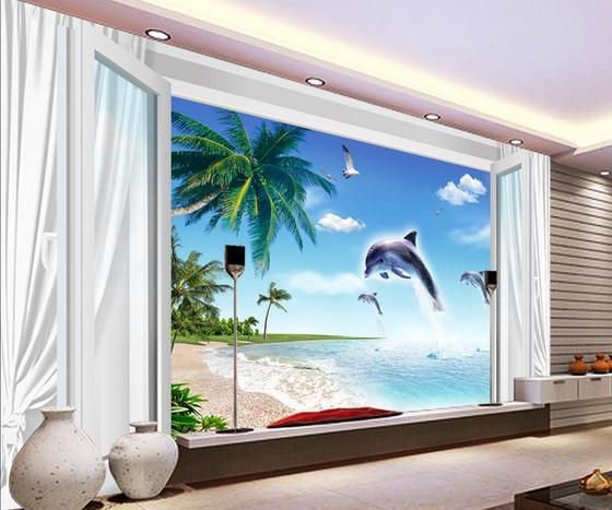 Customize wallpaper papel de parede Blue and white window curtains beach dolphin 3d TV backdrop 3d wallpaper Free shipping5267