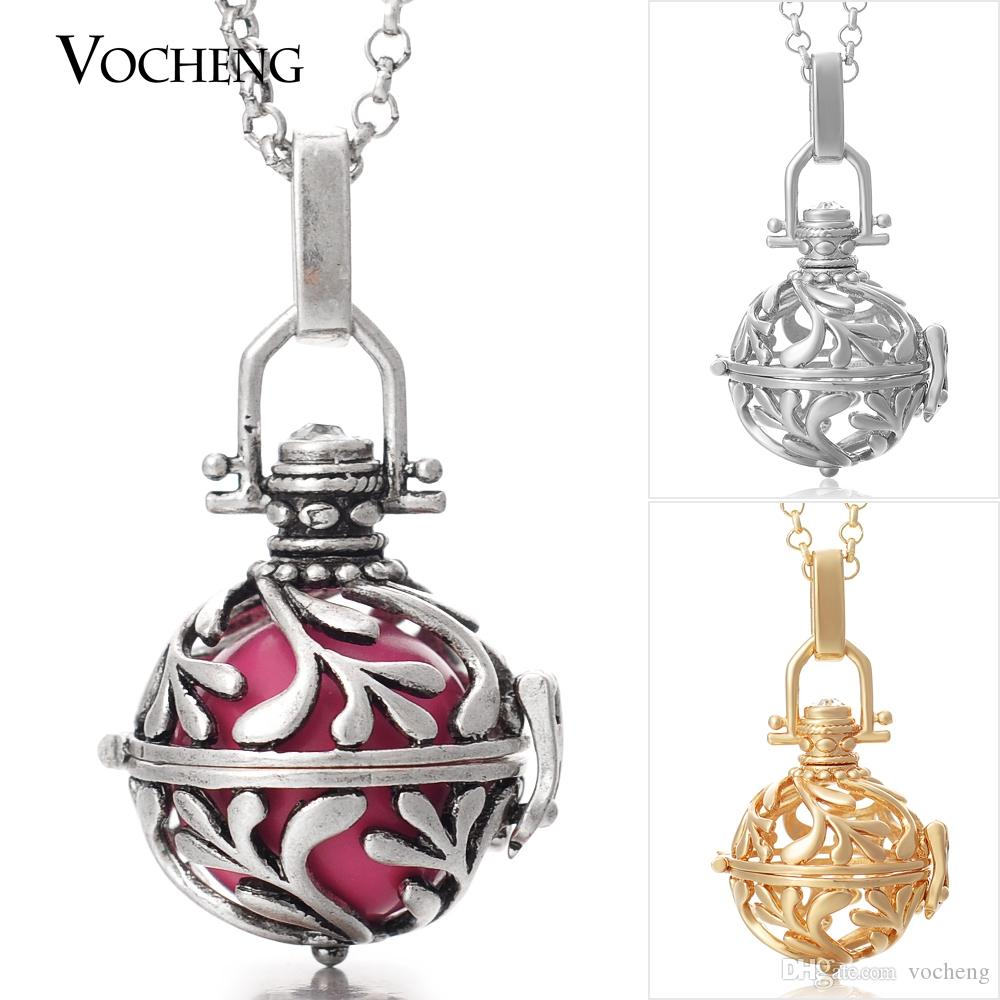 Baby Chime Necklace 3 Colors Copper Metal Pregnancy Ball Pendant with Stainless Steel Chain Vocheng VA-029