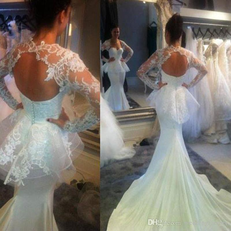 Sexy Elegant Mermaid Wedding Dress with Wrap Sheer Lace Appliqued Long Sleeve Bolero Sweetheart Peplum Fitted Bridal Gowns with Train