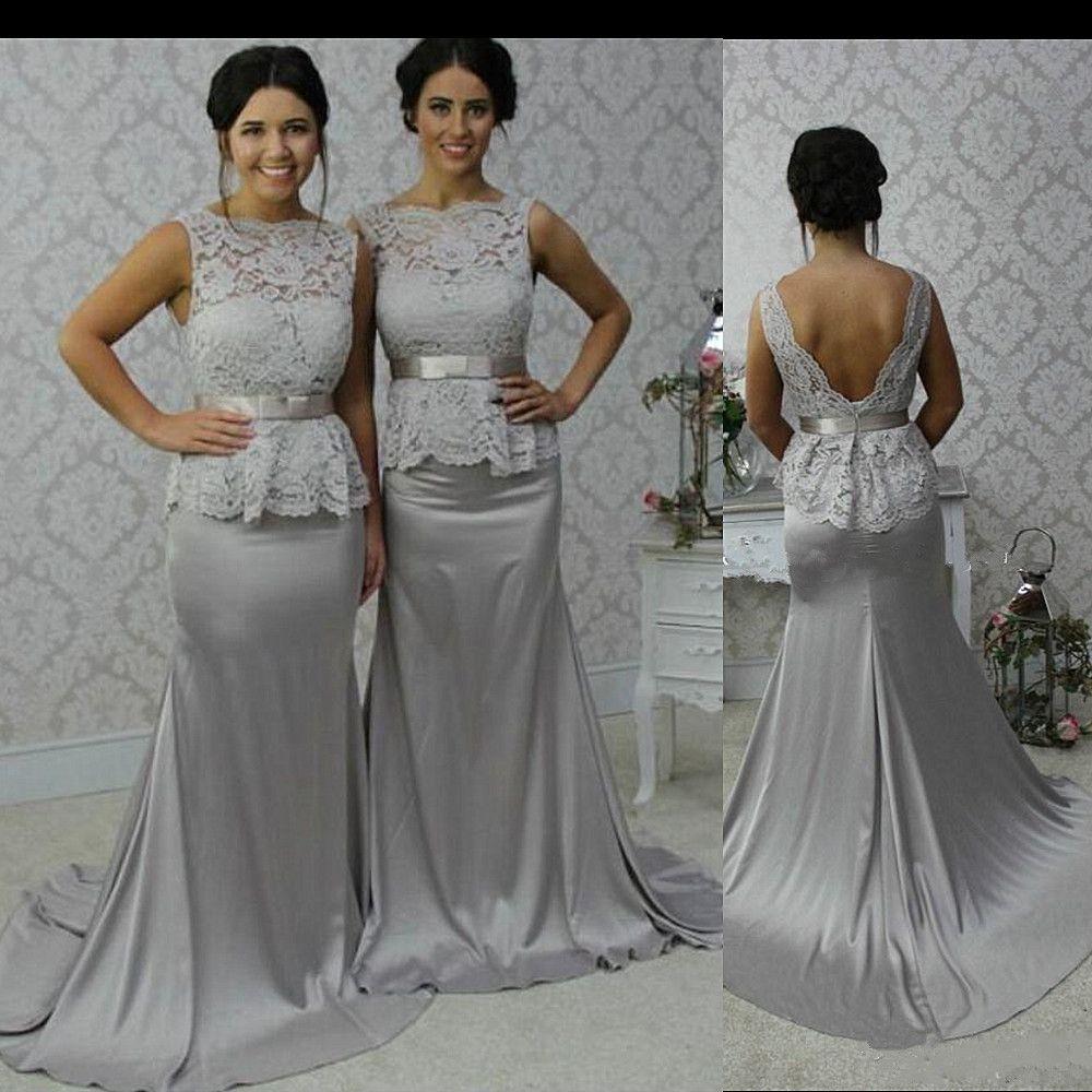 Reale Art und Weise Brautjungfernkleider Jewel Sheer Mermaid langen Hochzeit Brautjungfernkleid Oberseiten-Spitze Silber Satin Brautjungfer formales Kleid