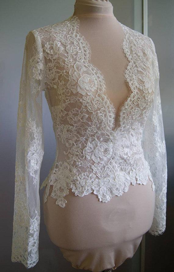 High Quality Ivory Lace Bridal Jacket With Long Sleeve V-Neck Bolero Custom Made Wrap Bridal Accessories For Wedding Dress