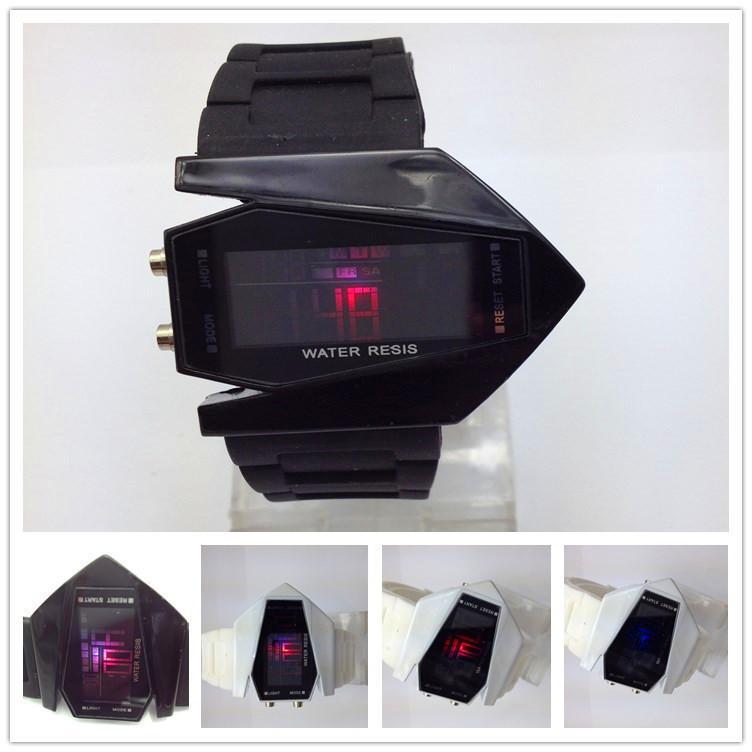 고품질 스포츠 불규칙한 모양의 디지털 디스플레이 고무 벨트 실리콘 울트라 얇은 터치 시계 팔찌 손목 시계 석영 배터리