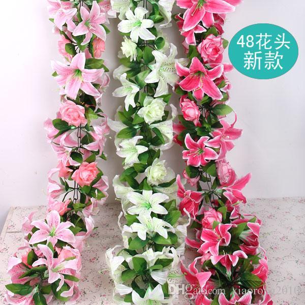 """160cm / 63 """"Längd Konstgjord Silkblomma Vin Simulering Lily Rose Portfolio Rattan Garlands Bågar med Blommor Hem Showcase Decorations"""