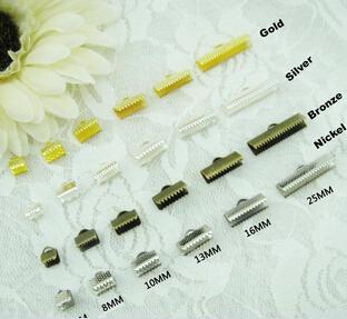 Darmowa wysyłka X030 Nowy 500 sztuk 25mm DIY Końcówki sznurka biżuterii i wstążki końcówki - Crimp Ends w Silver Gold Bronze Copper