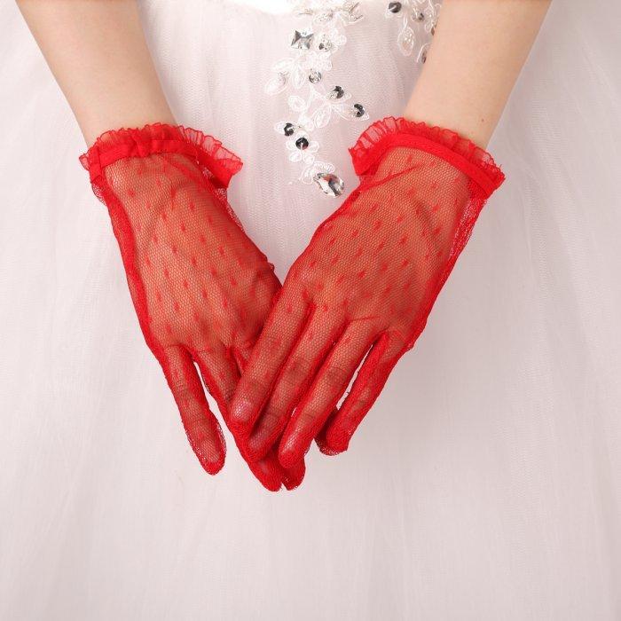 قفازات خصم كبير رخيصة الزفاف الصينية الأحمر الرباط القفاز الجوف فستان الزفاف قفازات اكسسوارات الزفاف 2021