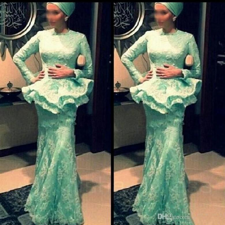 Lace Long Sleeves Dresses Evening Wear Muslim Arabic Dresses Aso Ebi Style Mother of the Bride Gowns with Peplum Skirt