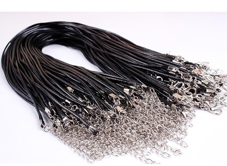 Pelle 100PCS LOT Black Snake collana borda cavo String Wire Rope estensore di catena 45 centimetri Gioielli fai da te con il catenaccio Componenti