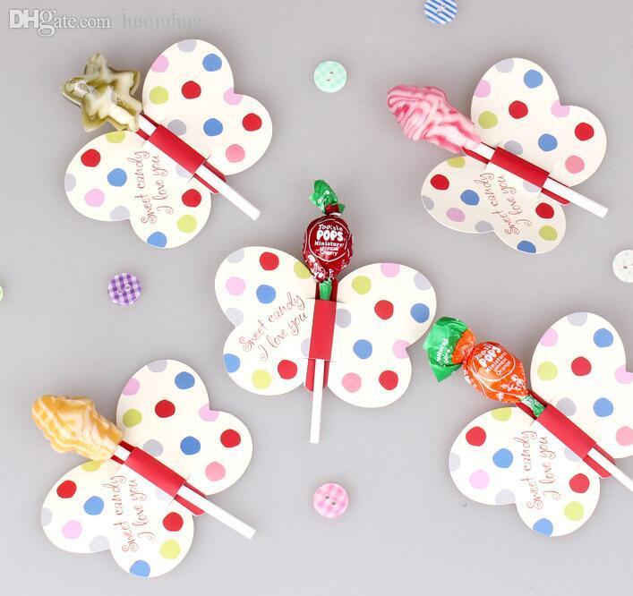 Wholesale-50Pcs / Lot Bee / Butterfly / Impreso Lollipop Decorativo Tarjeta Candy Stick Decorativo Tarjeta