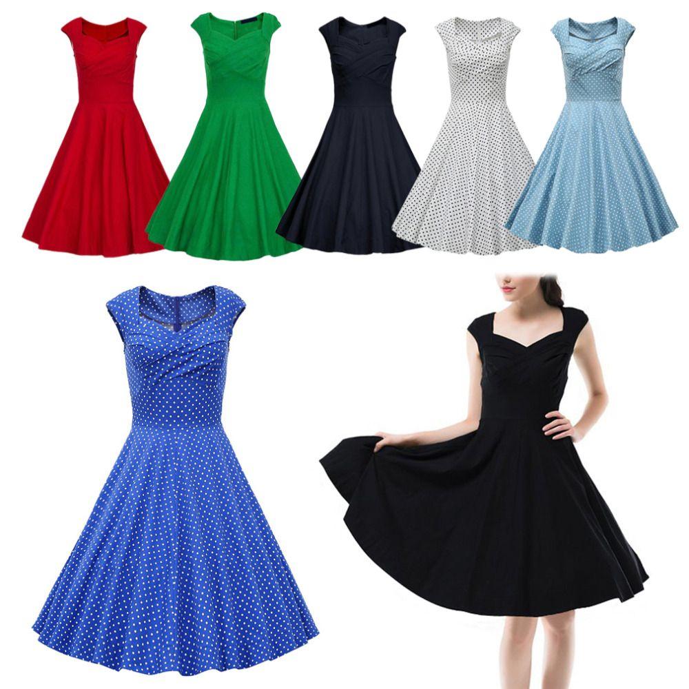 도매 - 뜨거운 새로운 2016 년 여름 여성 캐주얼 드레스 레트로 파티 가운 rockabilly 50s 블랙 빈티지 드레스 플러스 크기 Vestidos 저렴한 무료 배