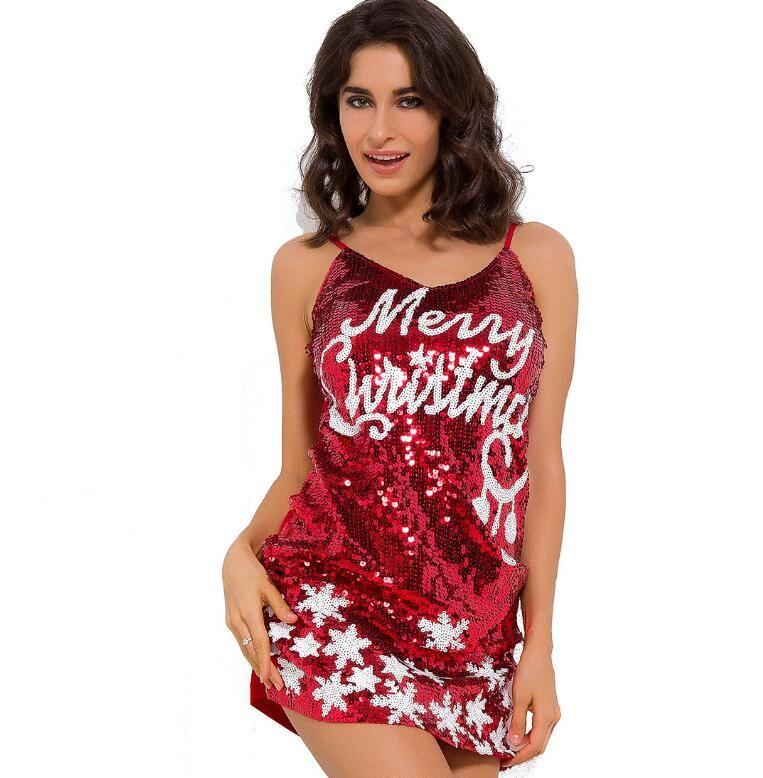 Nightclub sexy dress glitter sequined Christmas clothing sleeveless sling tight package hip ultra-short women dress was thin women clothing