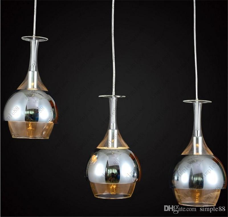 Neue Kronleuchter 3pcs / Set Wein Glas Anhänger Licht Hängelampen Deckenleuchte  Kronleuchter Pendelleuchten E14 Birnen Licht Deckenleuchte Lampen
