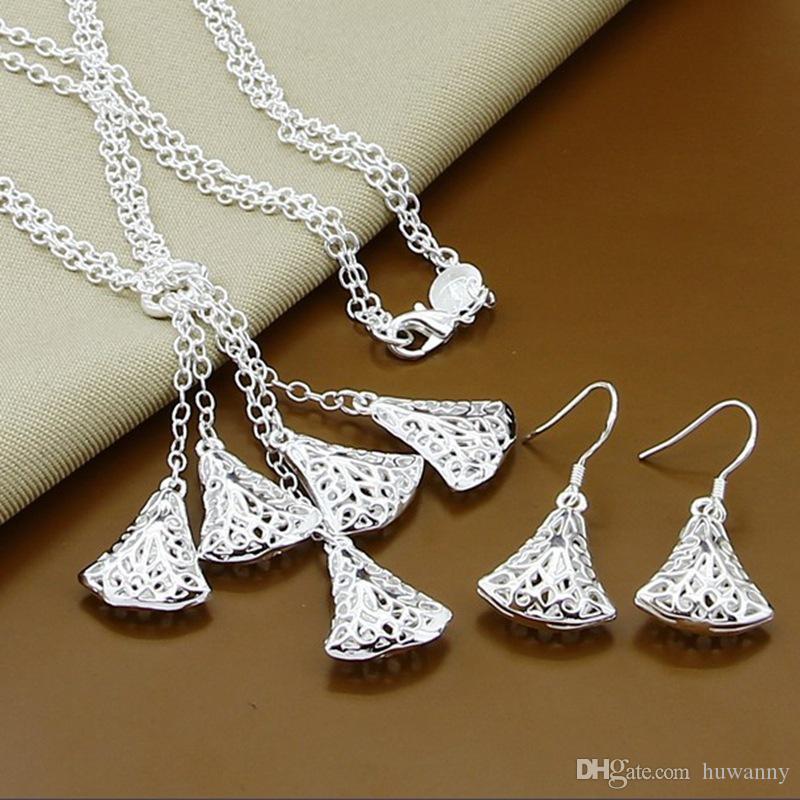 Zestawy biżuterii srebrnej Gorąca Sprzedaż Drop Kolczyki Łańcuch Naszyjniki Zestaw Dla Kobiet Dziewczyna Prezent Biżuteria Hurtownie Darmowa Wysyłka 0001YXD