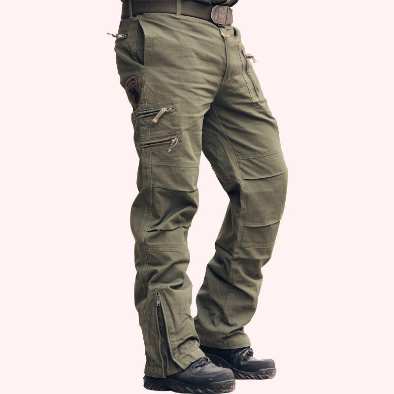 남성의 경우 101 공수 청바지 캐주얼 훈련 플러스 사이즈면 통기성 멀티 포켓 군사 육군 위장 카고 바지