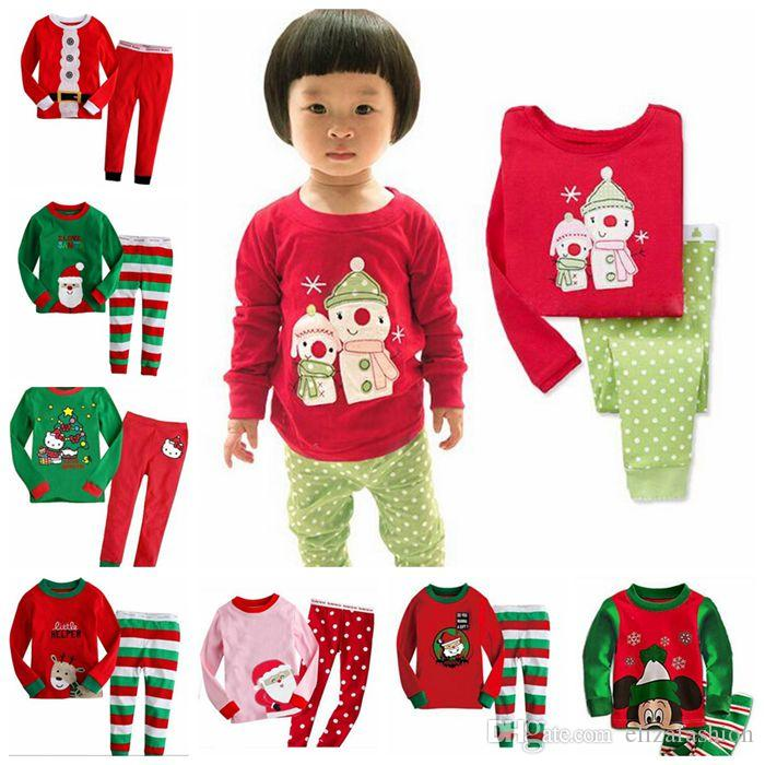 Kids Christmas Pajamas.Christmas Pajamas Kids Santa Pajamas Santas Little Helper Deer Reindeer Snowman Boys Girls Kids Long Sleeve Sleepwear 10 Styles Kids Flannel Pajamas