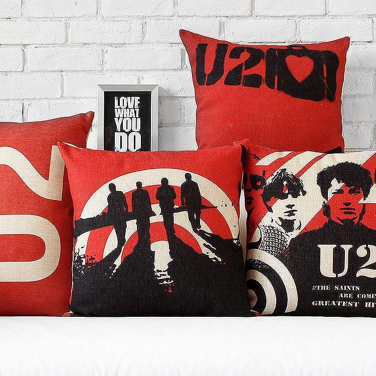 U2 Red And Black Vintage British Linen Cotton Cush...