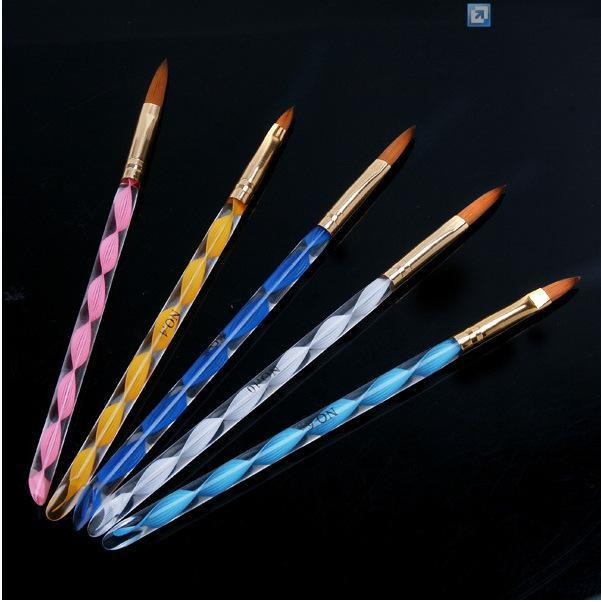 NEUE 5 Stücke 2 Möglichkeiten 3D Acryl Nail art Pinsel Pen Nagelhautschieber Kit Werkzeuge Grundlegende Maniküre Set