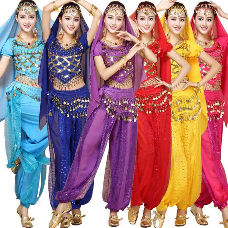 4 шт. наборы Индия Хэллоуин Египет танец живота костюмы Болливуд костюмы Индийский платье Bellydance платье женщин танец живота