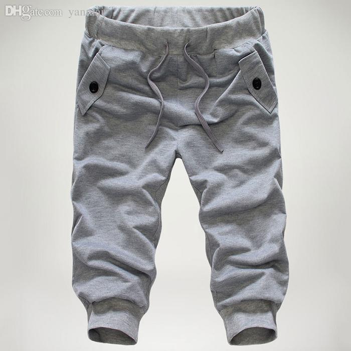 All'ingrosso-2016 nuovi uomini pantaloni larghi bicchierini pantaloni a vita bassa casual jogger pantaloncini con cavallo basso pantaloni sportivi harem