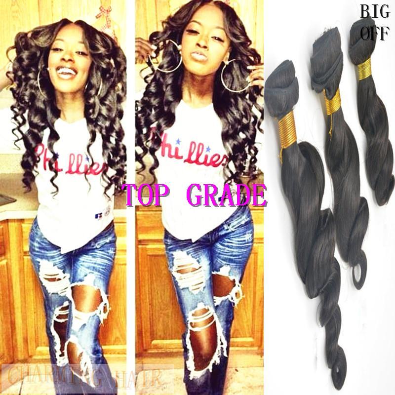 Brazilian Hair!!Cheap 8A Peruvian Brazilian Indian Malaysian Hair Extension Virgin Hair Loose Wave Hair Weft 10-26 inch Free Shipping