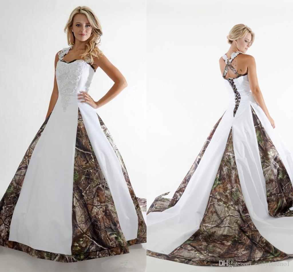 2017 glamoureuze camo trouwjurken kant riemen witte camouflage bruids baljurken criss cross back vestido de novia kapel trein