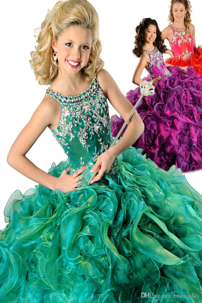 7fbe05bb1c0 2018 Gorgeous Purple Ball Gown Pageant Gowns For Girls Beaded Halter Neck  Lace-up Back Organza Ruffles Green Red Flower Girls Dresses