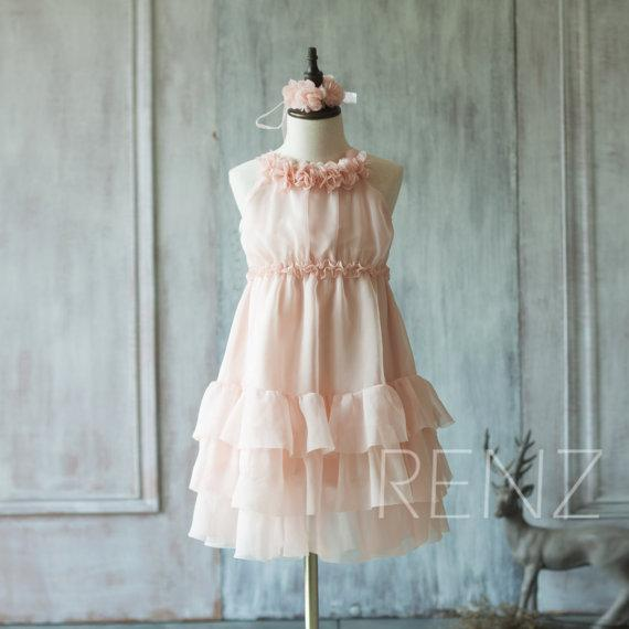 2020 Blush Pink Junior Bridesmaid Dress, Ruffle Flower Girl Dress, Rosette dress, Floor length, Floral Headdress