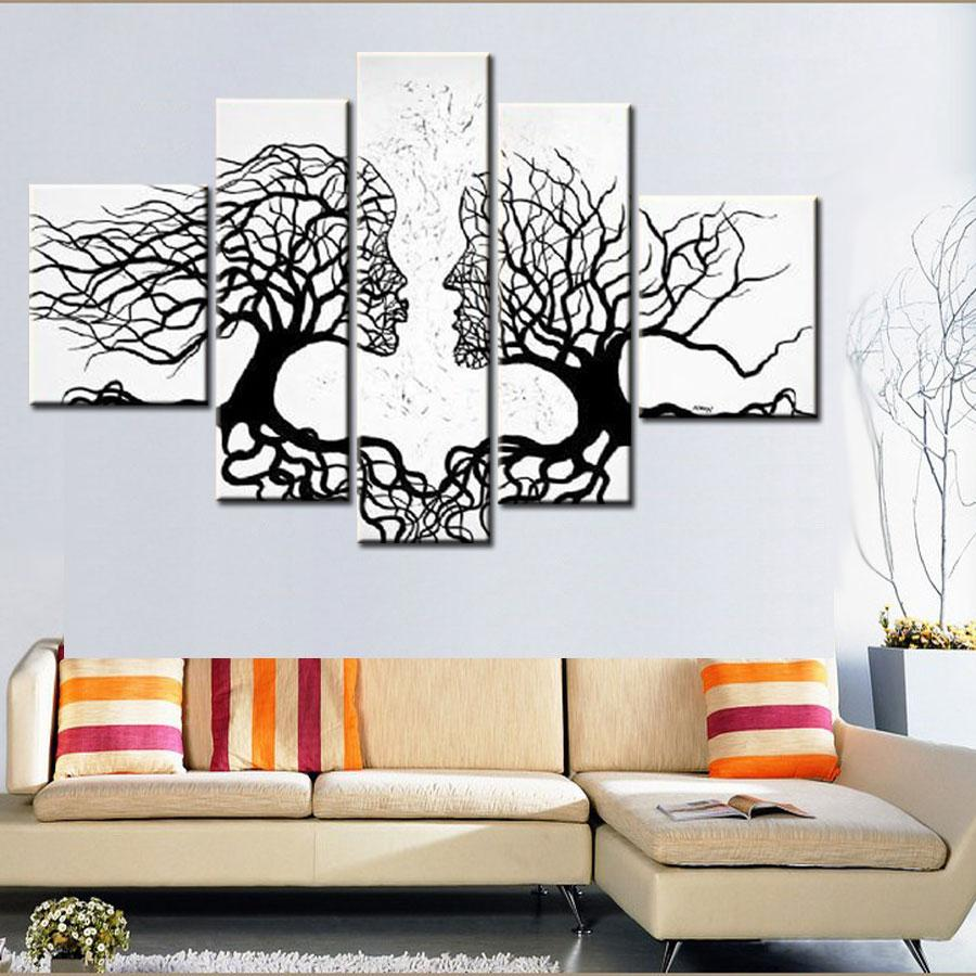100% Hand made promotion black white tree CANVAS PAINTING Abstract kiss art HOME DECOR Oil Painting on canvas 5pcs unframed