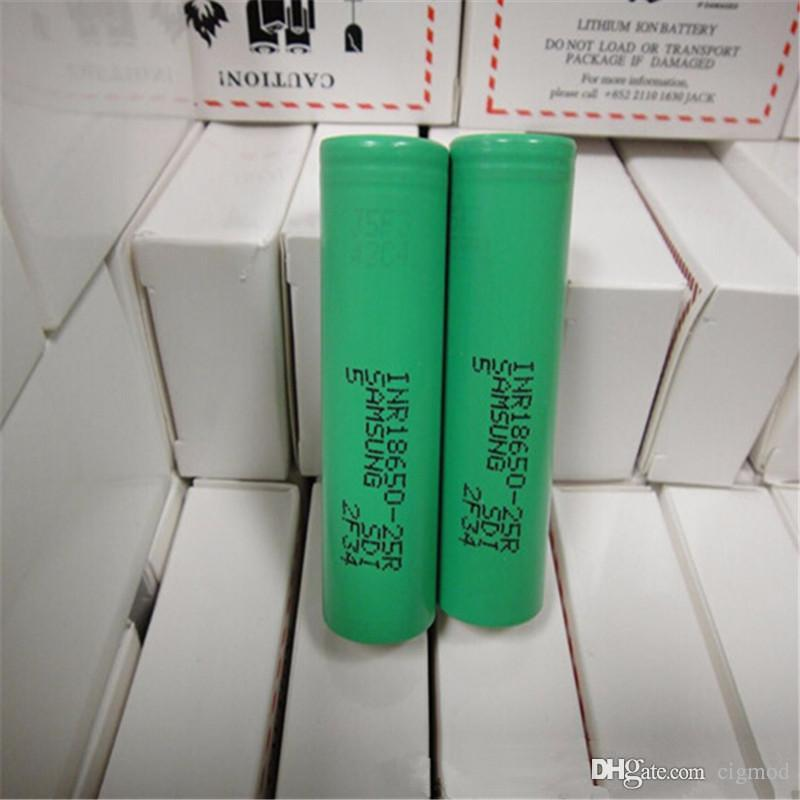 100% de alta calidad 25R 18650 INR Batería 2500mAh 3.7V 20A Batería recargable de litio inr 18650 Batería para E Cig Box Mod Fedex
