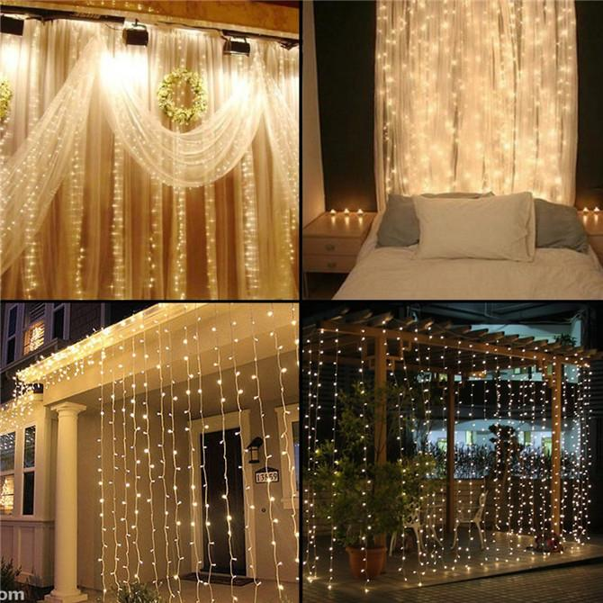 2016 Curtain String Lights Garden Lamps New Year Christmas Icicle LED Xmas Wedding Party Decorations