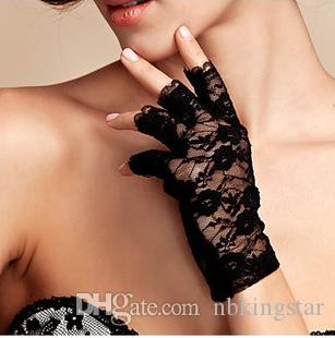 Black White Fingerless Design Lady Goth Wedding Party Sexy short Lace Gloves Summer Sunscreen Mittens