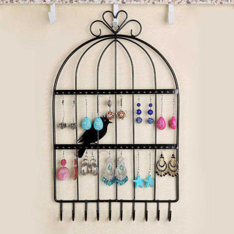 Iron Birdcage Wall Hanging Necklace Orecchini Braccialetti Titolare Jewelry Display Stand Scaffale Collezione Scaffale multifunzionale per gioielli