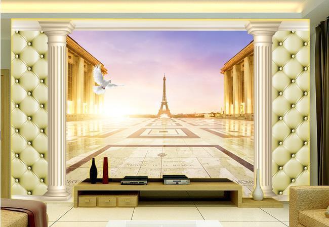 Custom photo wallpaper 3D European Paris landscape Roman retro sofa backdrop 3d wallpaper 3d mural wallpaper 20156162