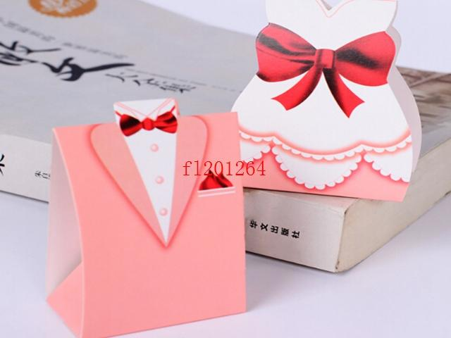 1000pcs/lot Free Shipping Big Pink Bride and Groom design sweet box candy chocolate boxes For Wedding party Favor gift