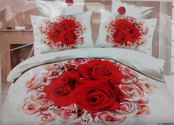 Wholesale Luxury 3d Oil Painting Red Flower Bedding Set