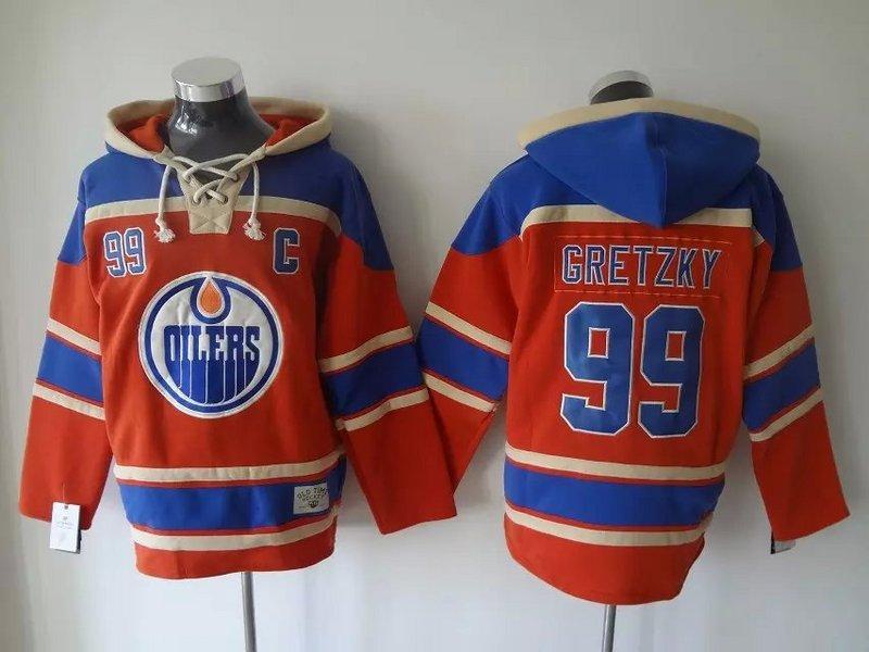 최고 품질 ! 에드먼턴 오일러 올드 타임 하키 유니폼 # 99 Wayne Gretzky 파란 오렌지 까마귀 스웨터 스포츠 스웨터 겨울 자켓