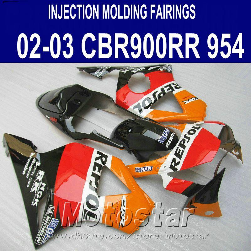 Set motobike per stampaggio a iniezione per carene Honda cbr900rr 954 2002 2003 CBR900 RR rosso arancio Kit carena REPSOL ABS CBR954 02 03 YR61