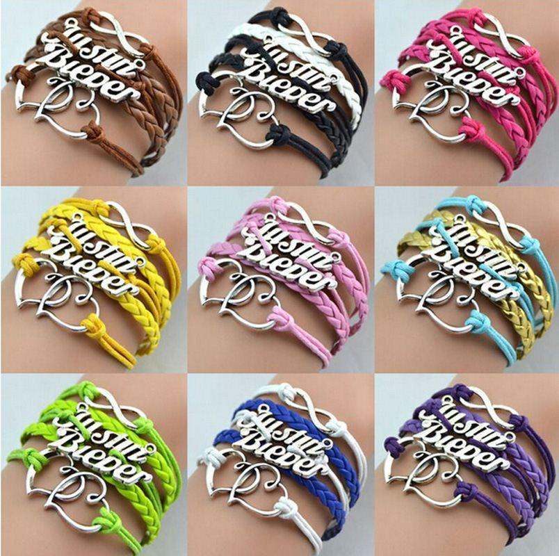 FG Promotion Jewelry Justin Bieber Fashion Multicolor Multi-layer Double Heart Leather Charm Bracelets For Women and Men