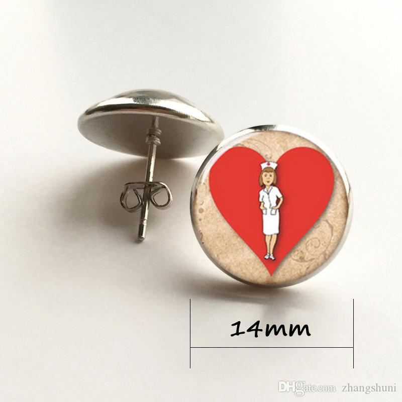 Enfermera pendiente, Enfermera en nombre del amor corazón pendiente vidrio Foto Regalo para enfermera joyería pendiente