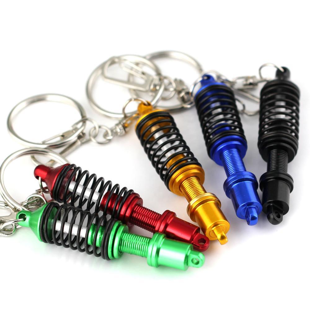자동차 창의력 스프링 댐퍼 키 체인 키 링 인테리어 액세서리 펜던트 Keyholder 플렉스 코일 오버 튜닝 키 링