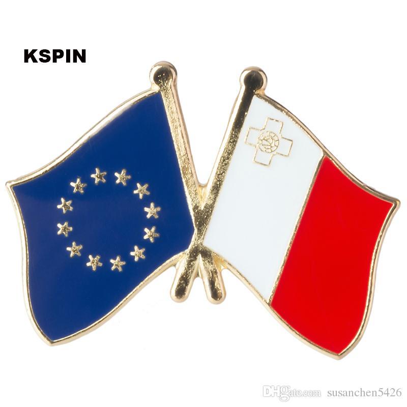 Unione europea Malta amicizia Bandiera Badge Bandiera Pin XY0078