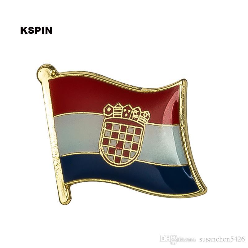 Spedizione gratuita in Croazia con bandiera in metallo Badge Flag Pin KS-0095