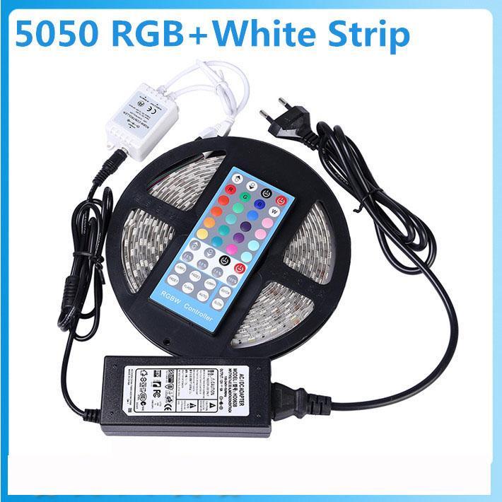 5050 SMD RGBW/RGBWW Flexible Led Strip Light 5M 60Leds/M IP65 Waterproof Strips Light+40 Keys IR Remote +12V 5A Power Adapter