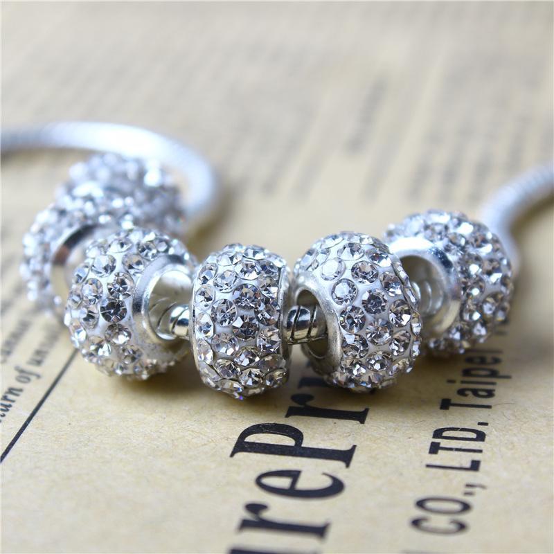 Perla di fascino in cristallo bianco argentato 925 Gioielli in argento placcato moda donna Splendido stile europeo per collana Pandora Bracciale PANMF-04