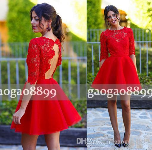 New Arrival 2019 Hot Red Homecoming Dresses A Line Jewel Backless Capped 3/4 Long Sleeve Short Lace Applique Ladies formal tuxedo