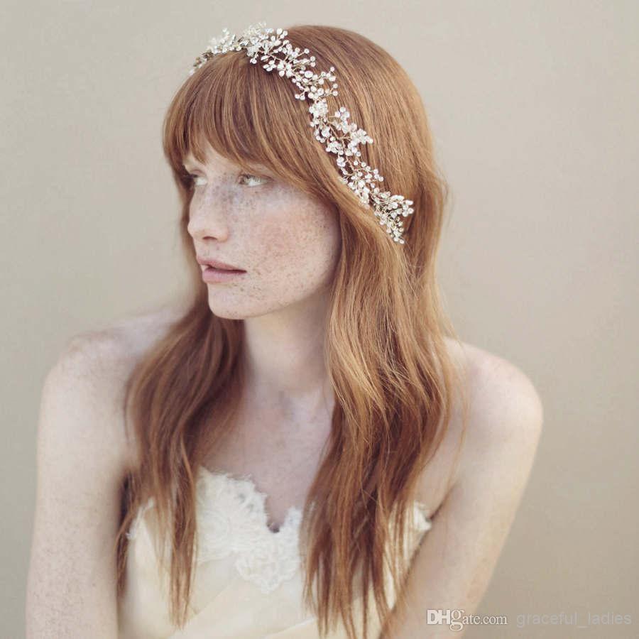 2015 Handmade Headwear Gioielli Bridal Crystal Accessori per clip per capelli Argento di nozze Crochet Crochet Fascia per capelli Vine Capata da sposa