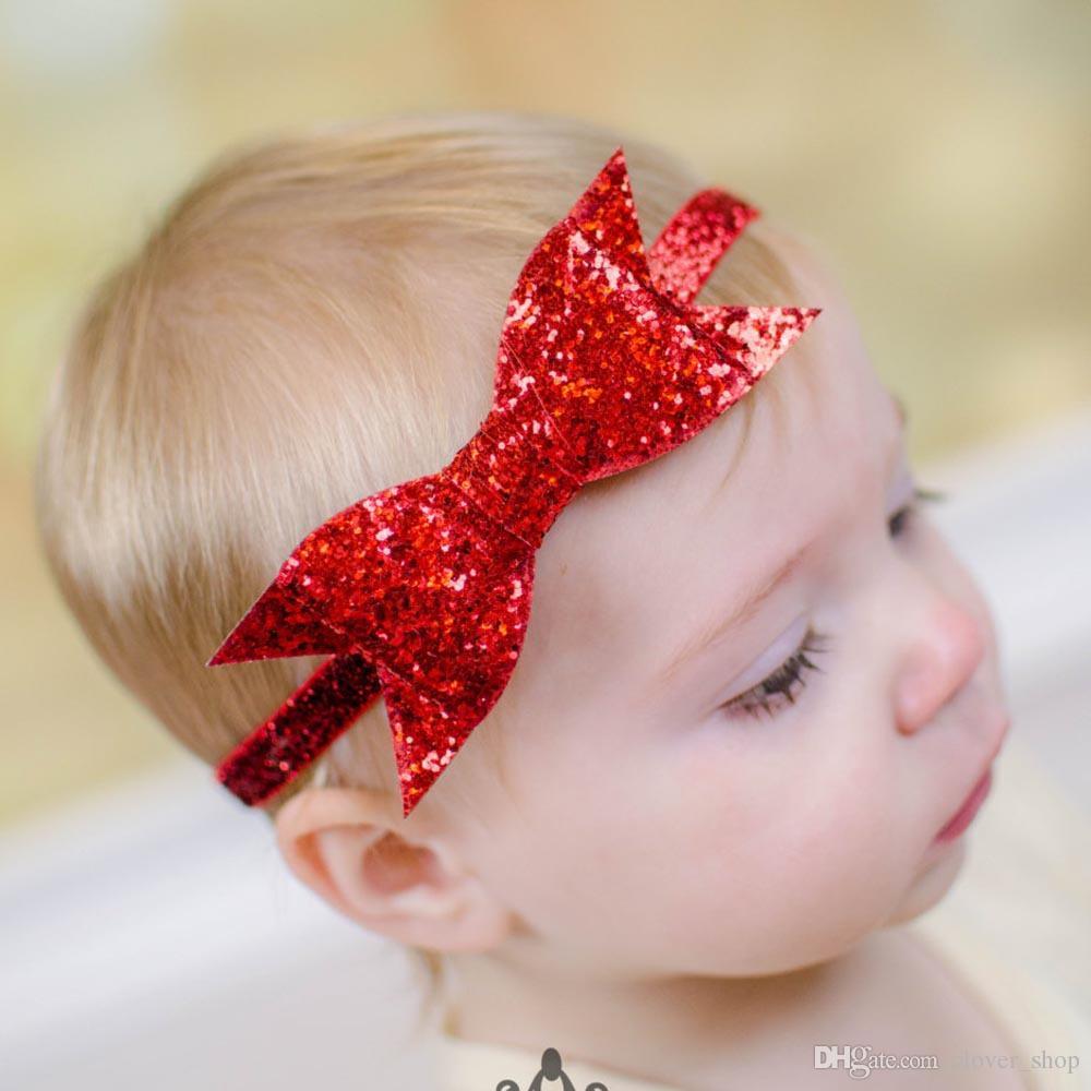 1 Шт Детские Девушки Оголовье Новорожденных Малышей Младенческой Лук Блесток Hairbands Блестящие Эластичные Волосы Группа Принцесса Bling Тюрбан Бандо