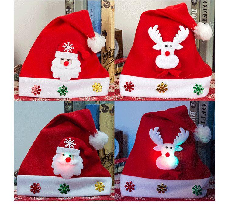 Luminous Light Christmas Hats Adult Kids Cartoon Caps Christmas Santa Claus Snowman Elk cap Hooded Glowing Christmas Ornament Child Hat Gift