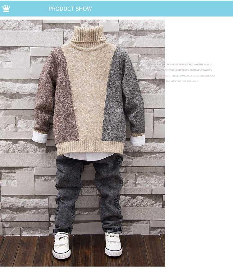 Kids Sweaters 2017 New Children'S Sweater Boys And Girls Long Sleeved Tops  For Children Turtleneck Outfit Preppy Style Multi Cardigan Sweaters For